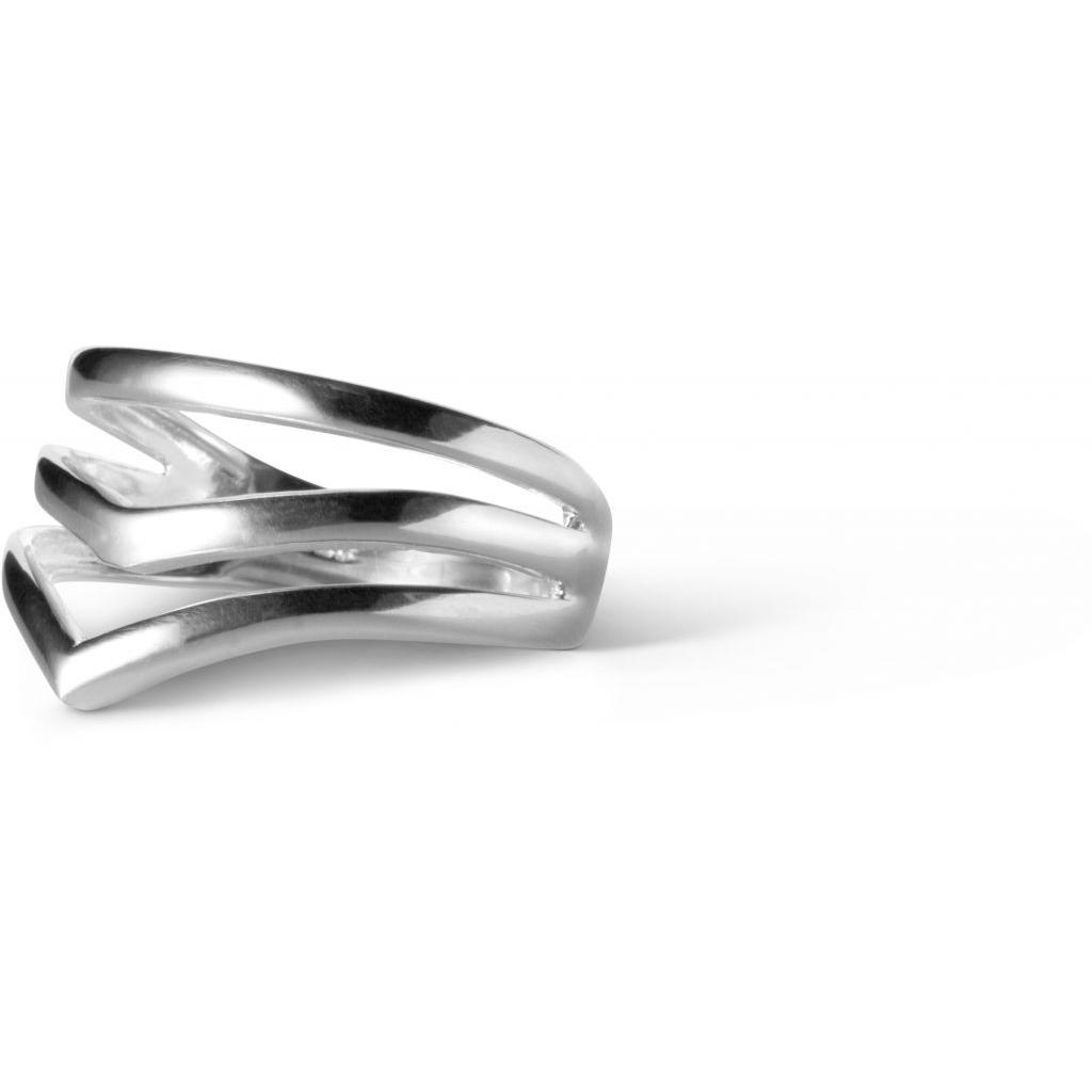 Enamel V Shape Ring i Sterling Sølv R42S