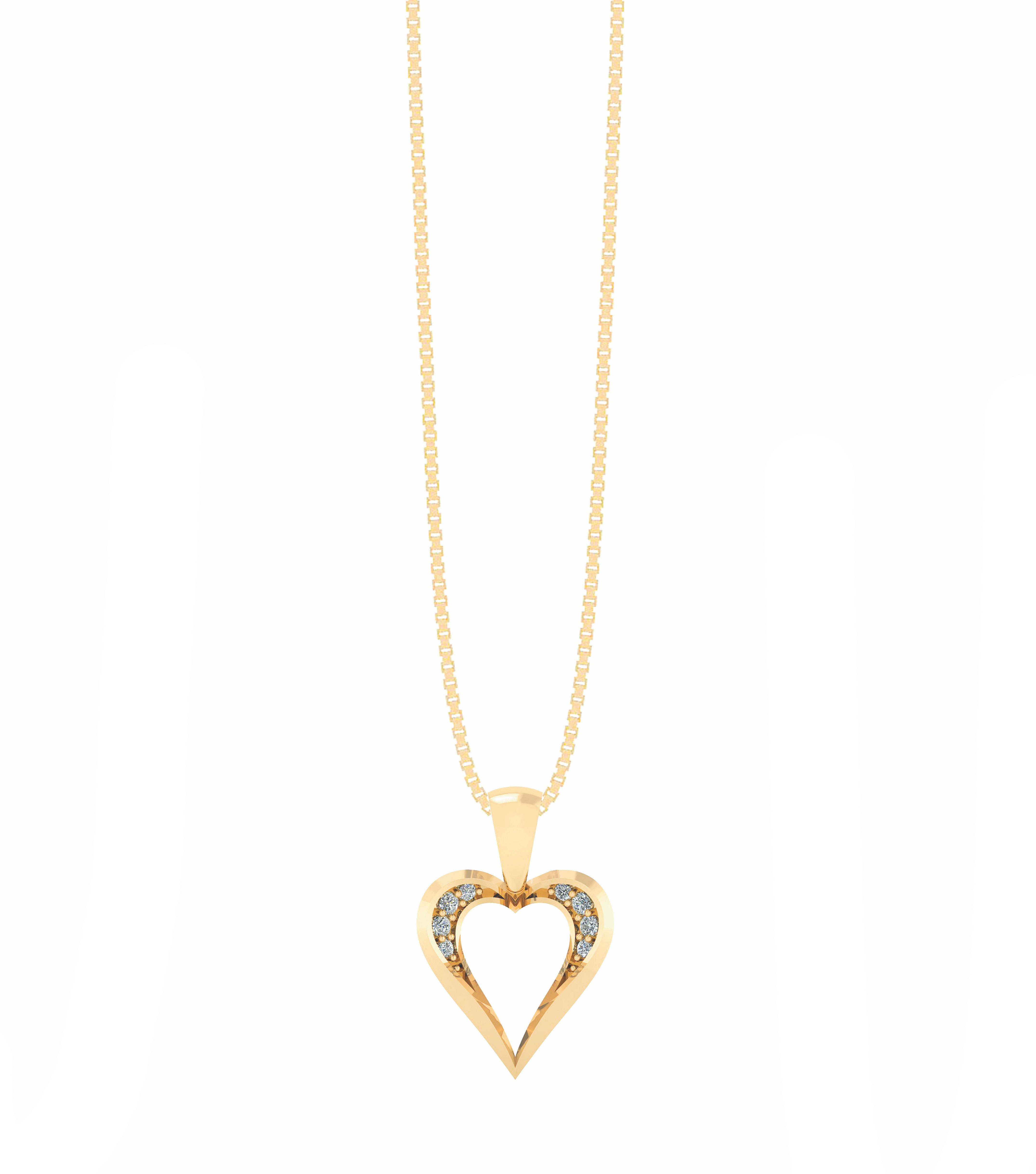 Hjerte Forgyldt Sølv Halskæde fra Smykkekæden ORSM006FG