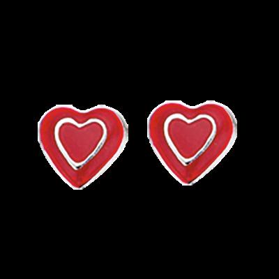 Scrouples Rødt Hjerte Børneøreringe i Sterling Sølv