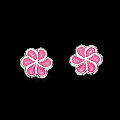 Scrouples Pink Blomst Sterling Sølv Børneøreringe