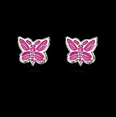 Scrouples Pink Sommerfugl Sterling Sølv Børneøreringe