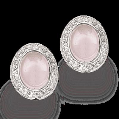 Rhodineret Sølv Øreringe fra Scrouples med Rosakvarts