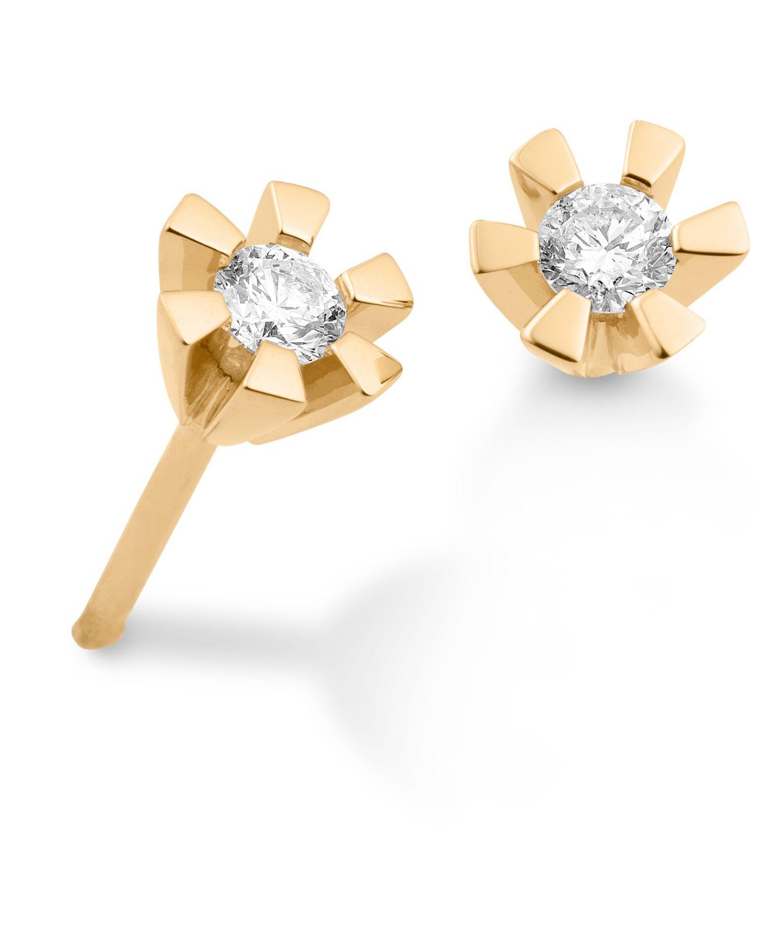 Aagaard Ørestikker i 14 Karat Guld med Diamanter