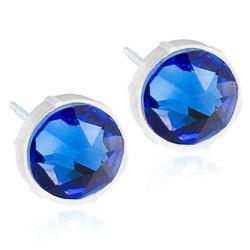 Blomdahl Medicinsk Plastik Ørestikker med Blå Swarovski Krystal