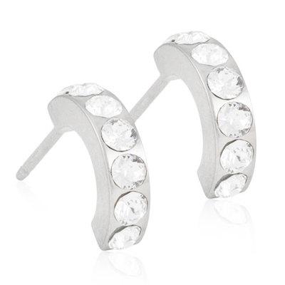 Blomdahl Brilliance Curved Øreringe i Titanium med Krystal