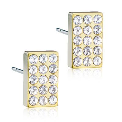 Blomdahl Brillance Titanium Ørestikker med Oblong Krystal