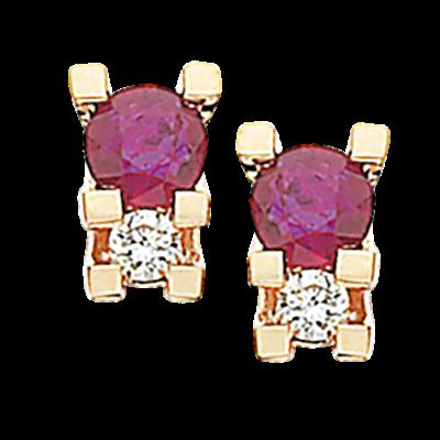Scrouples Zoya 14 Karat Guld Øreringe med Rubiner og Diamanter 0,04 Carat W/SI