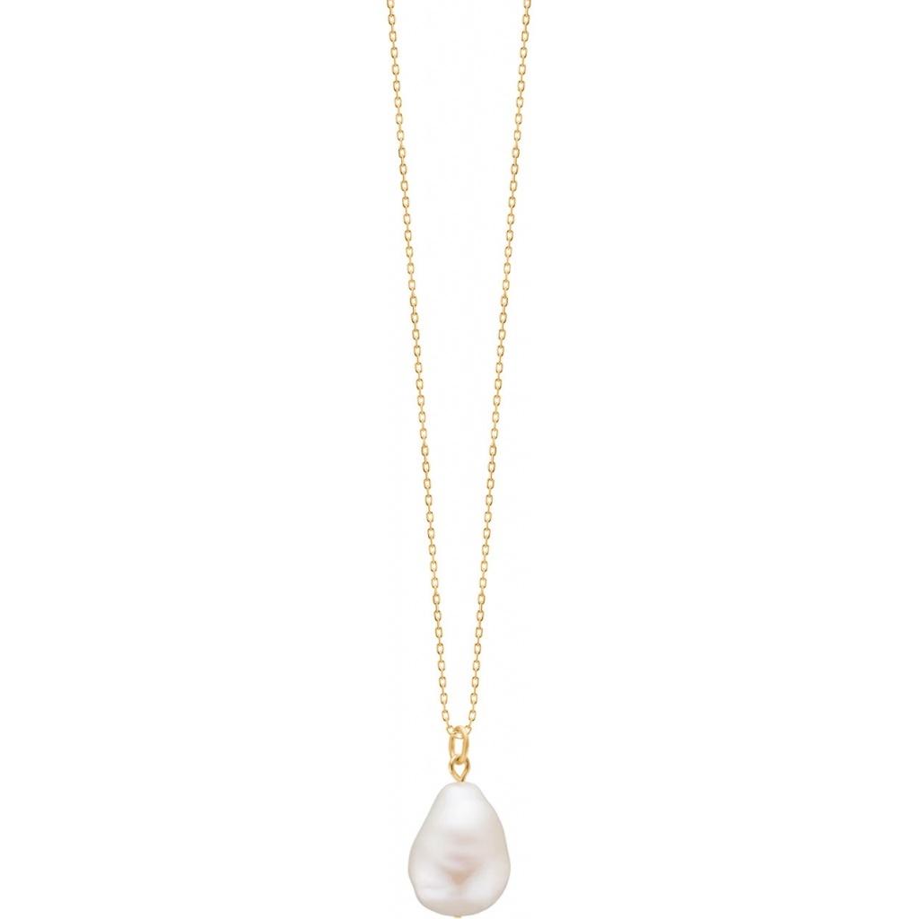 Enamel Baroque Pearl Halskæde i Forgyldt Sølv med Ferskvandsperle