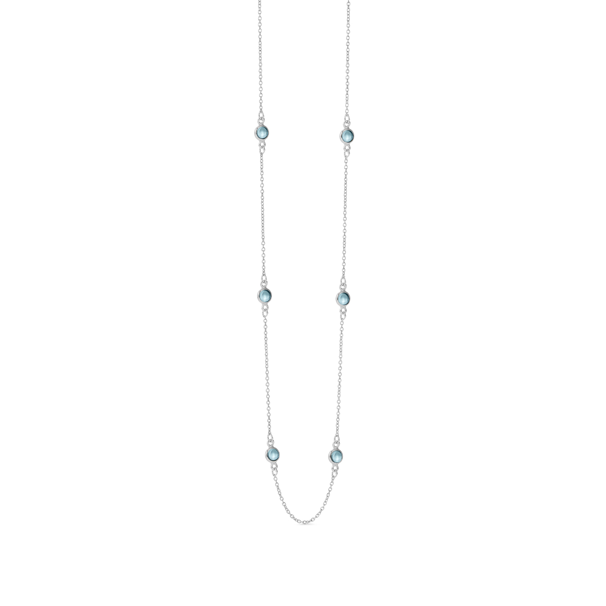 Sterling Sølv Halskæde fra Susanne Friis Bjørner med Blå Krystal