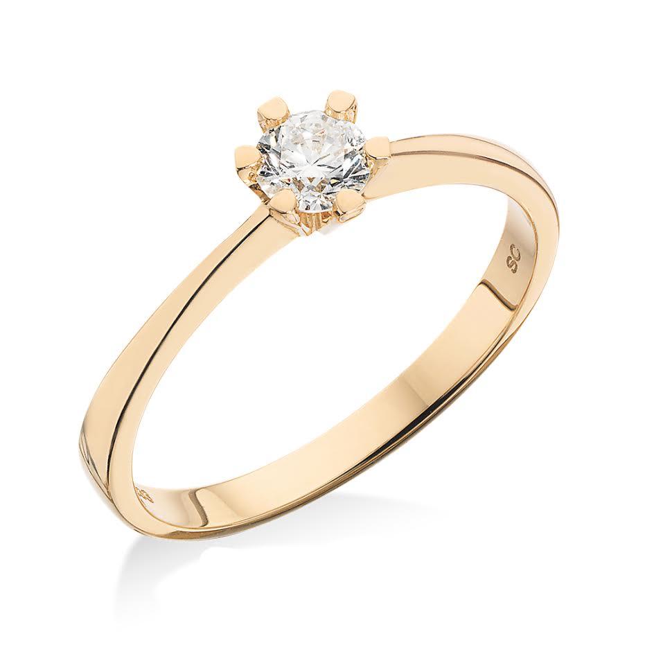 Scrouples Ring i 8 Karat Guld med Diamant 0,10 Carat W/P1