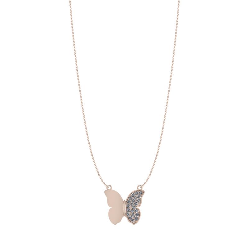 Image of   Forgyldt Sølv Halskæde fra Smykkekæden med Sommerfugl