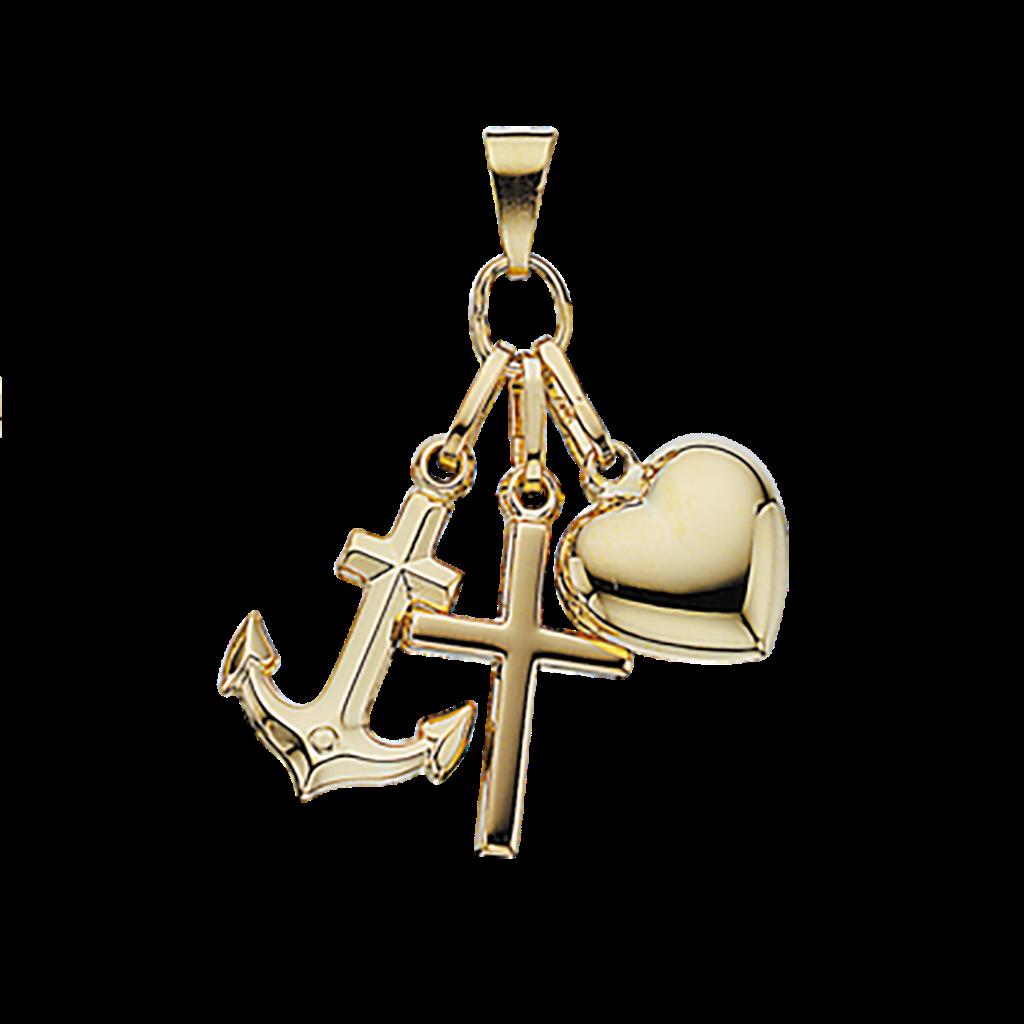 Tro Håb Kærlighed 8 Karat Guld Vedhæng fra Scrouples