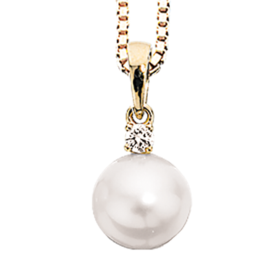 Scrouples Vedhæng i 14 Karat Guld med Perle og Diamant 0,04 Carat W/SI