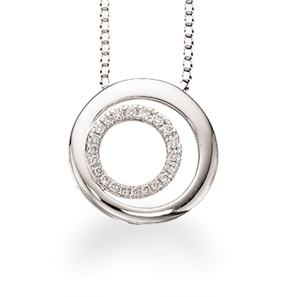 Image of   14 Karat Hvidguld Vedhæng fra Scrouples med Diamanter 0,11 Carat W/SI