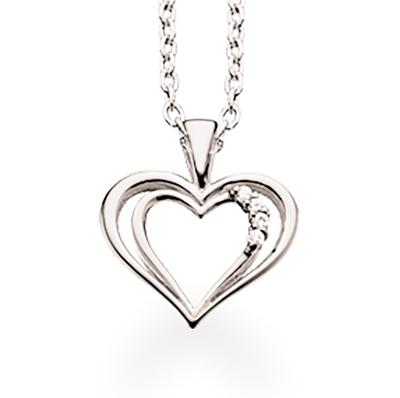 Hjerte 14 Karat Hvidguld Vedhæng fra Scrouples med Diamant 0,02 Carat W/SI