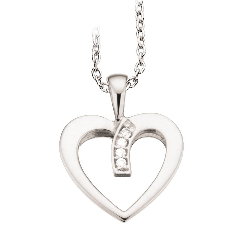 Scrouples Hjerte 14 Karat Guld Vedhæng med Diamant 0,02 Carat W/P1