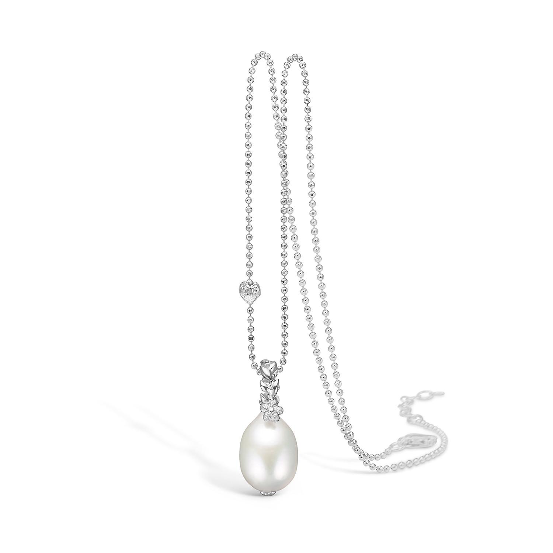 Blossom Halskæde i Sterling Sølv med Hvid Ferskvandsperle 21331228-80