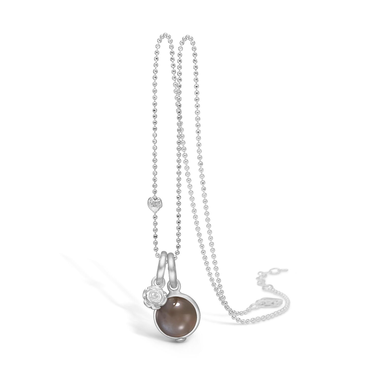 Blossom Halskæde i Sterling Sølv med Månesten 21332079-80