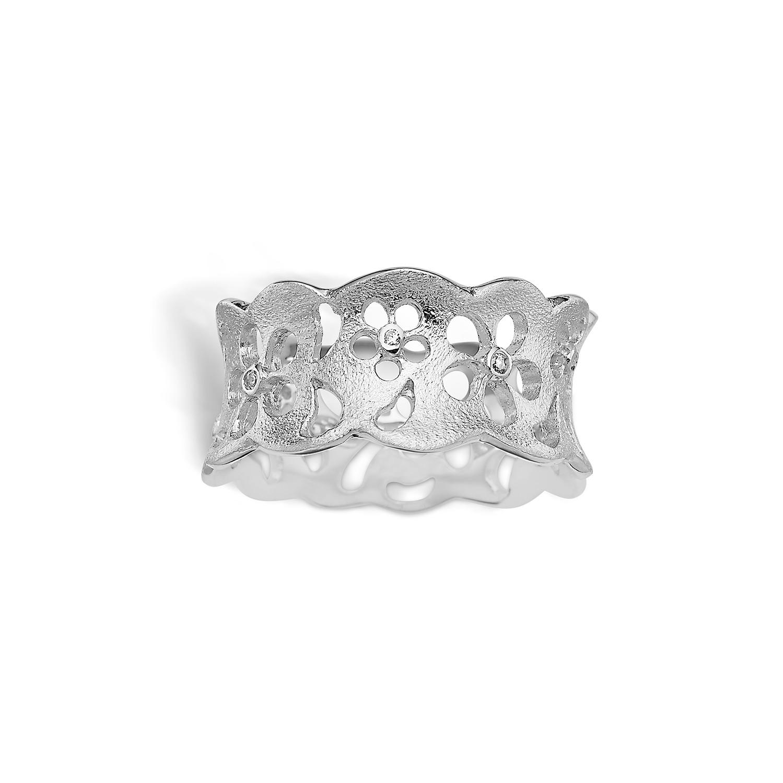 Image of   Blossom Sølv Ring med Blomstermotiv 21621222
