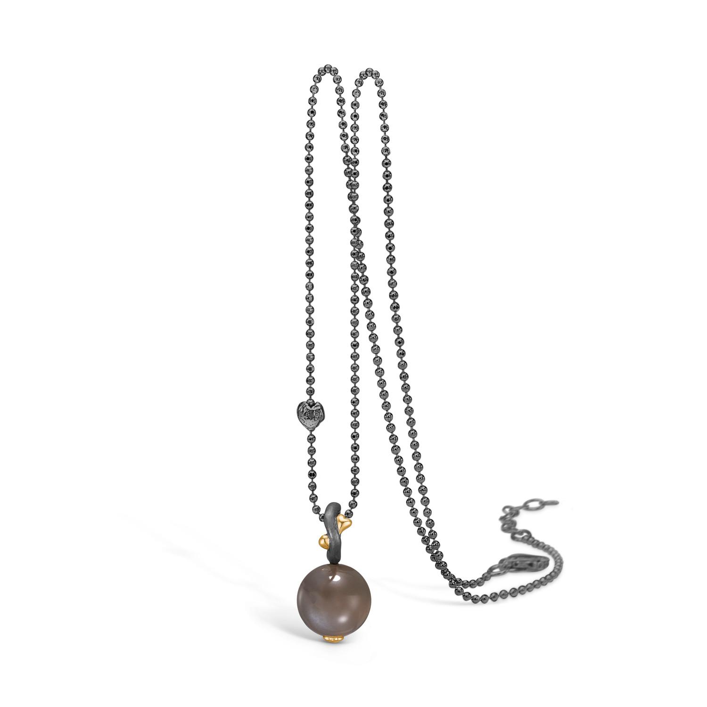 Forgyldt Sølv Halskæde fra Blossom med Månesten 22332106-80
