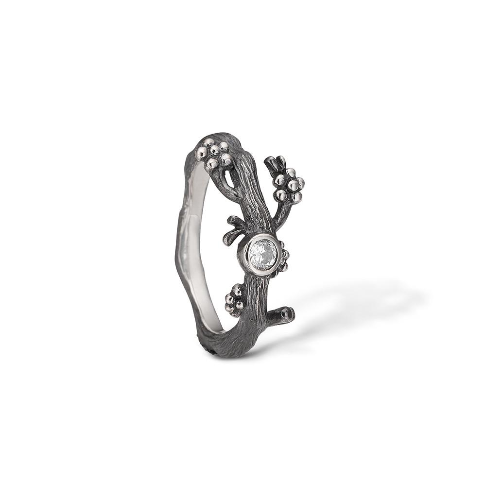 Image of   Blossom Oxideret Sølv Ring 22621126