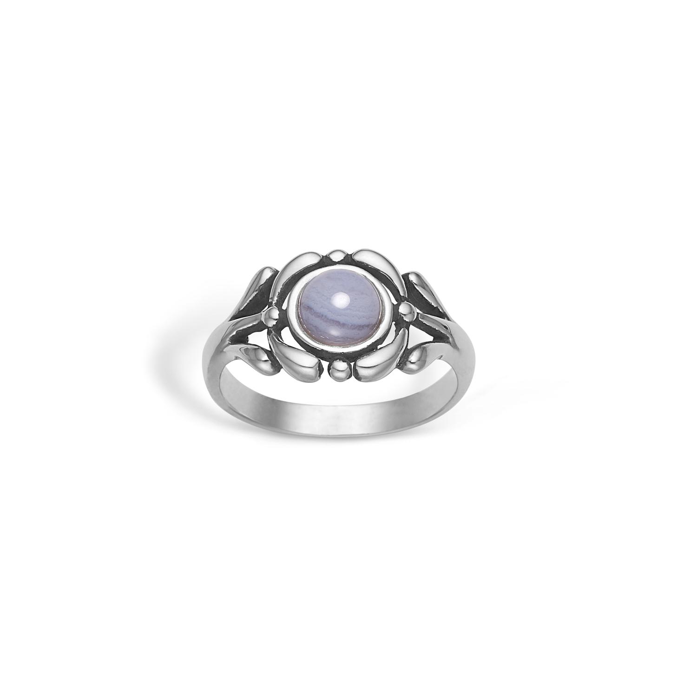 Image of   Blossom Oxideret Sølv Ring med Lyseblå Agat 22631276
