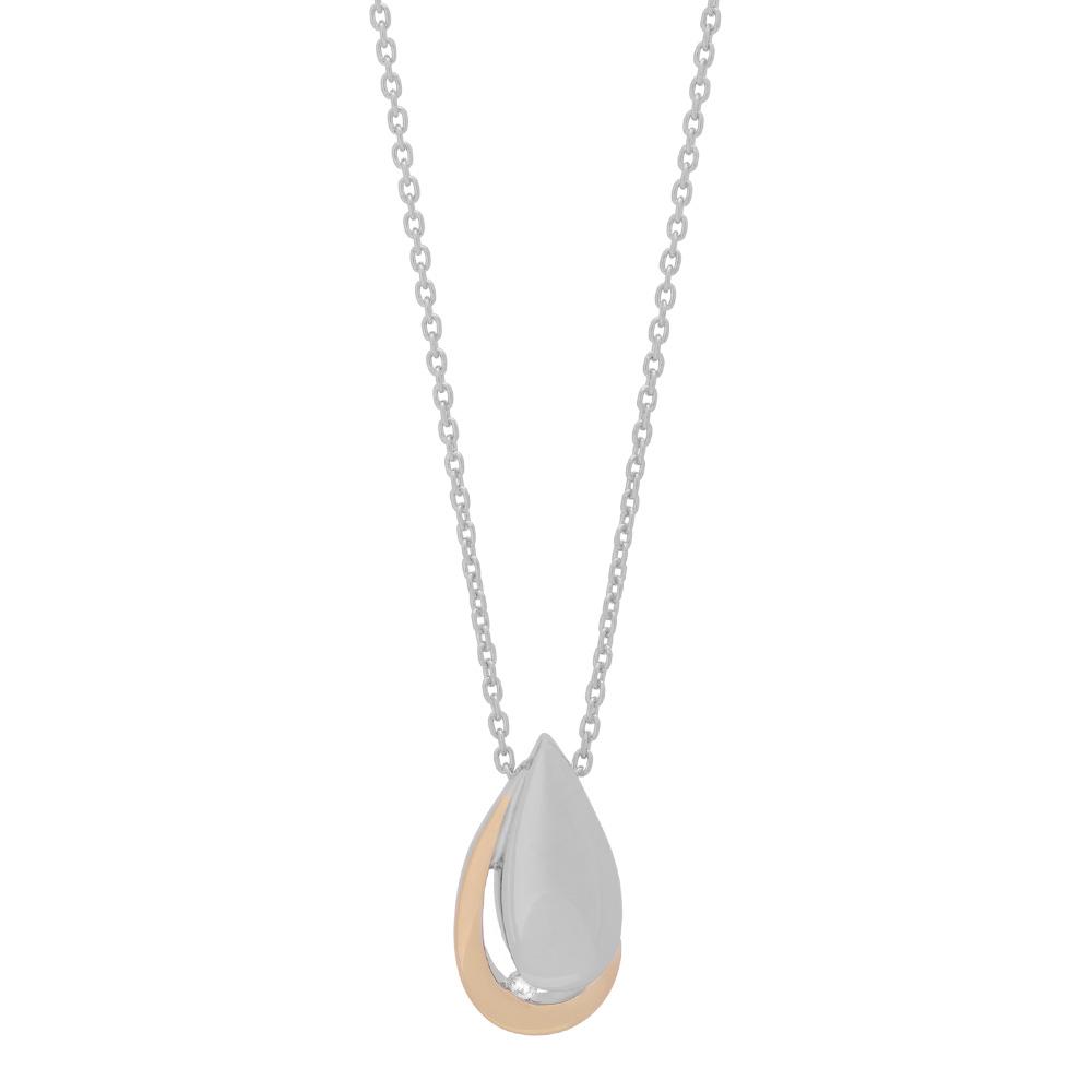 Sterling Sølv Halskæde fra Nordahl Andersen med 8 Karat Guld og Diamant 0,03 Carat