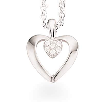 Scrouples Hjerte Halskæde i Rhodineret Sølv 229132