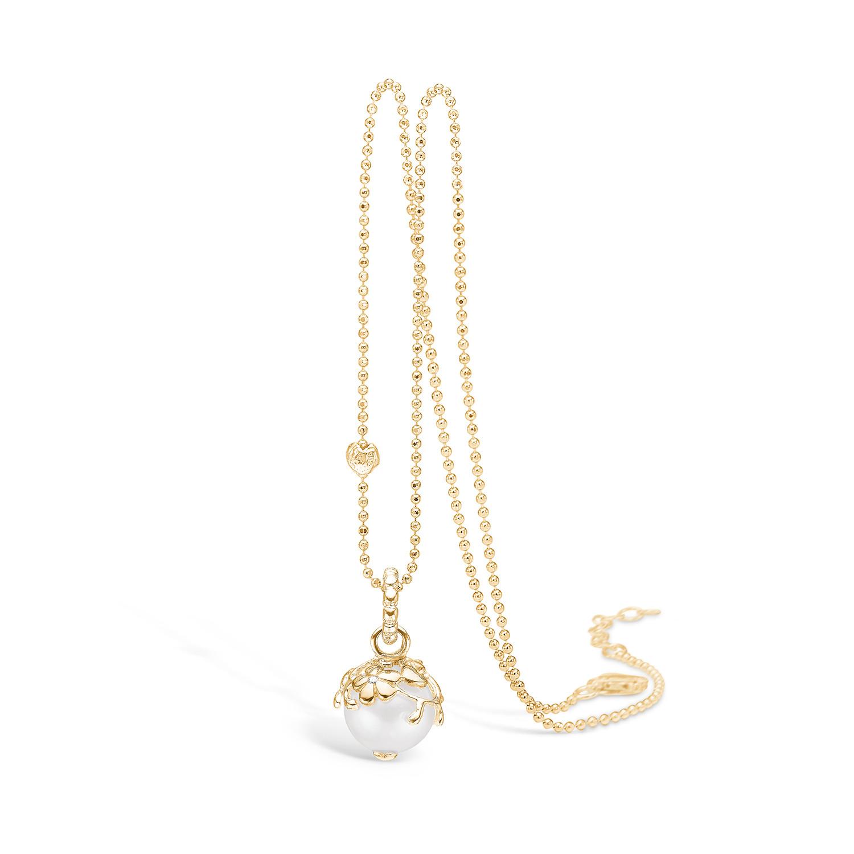 Forgyldt Sølv Halskæde fra Blossom med Ferskvandsperle og Diamant 23331032-45