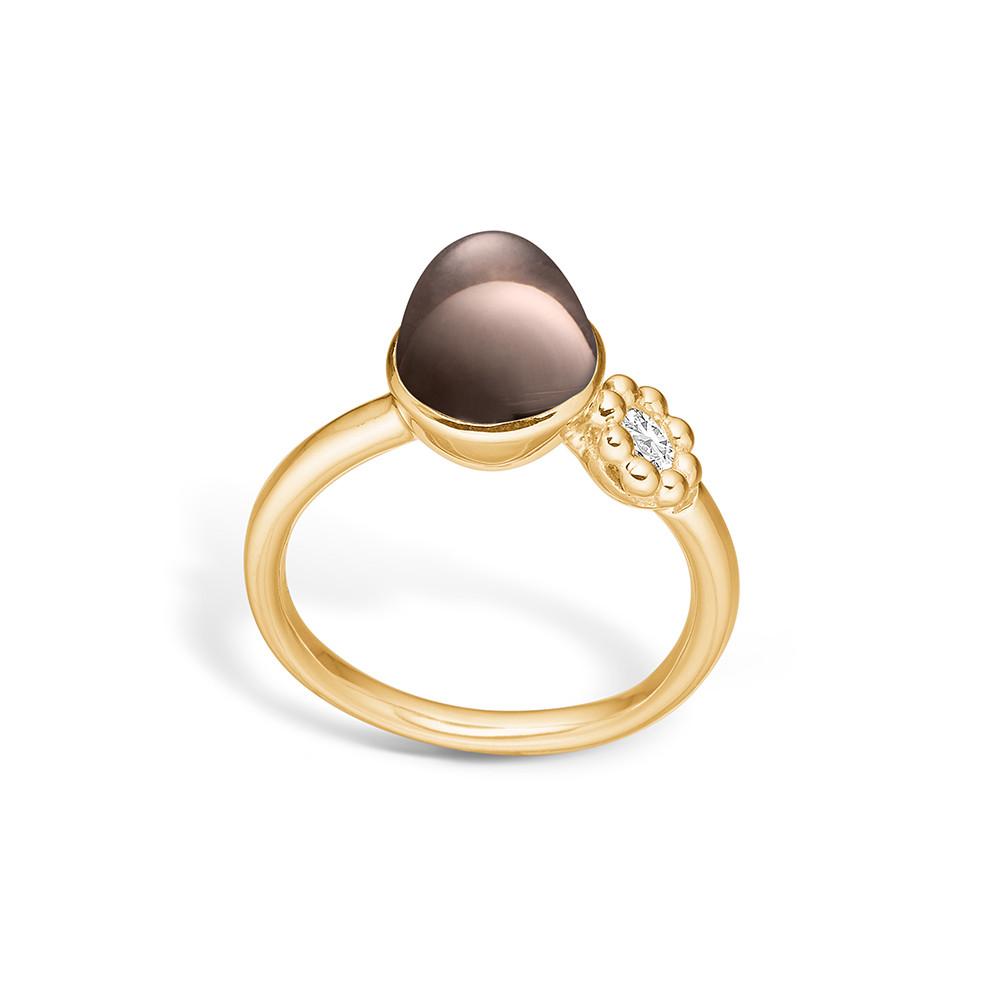 Image of   Blossom Forgyldt Sølv Ring med Røgkvarts 23632006-19