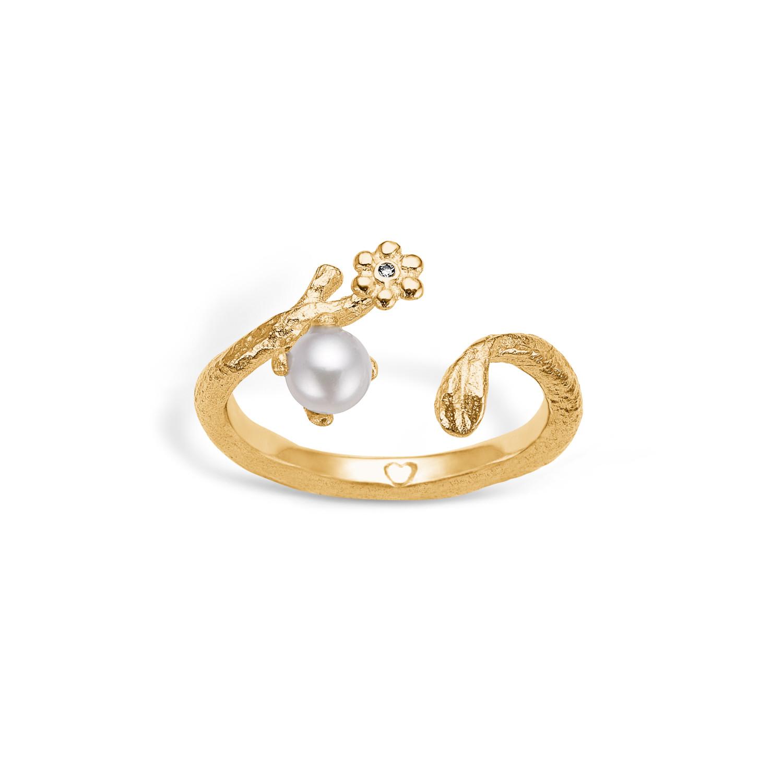 Image of   Blossom Blomst Forgyldt Sølv Ring med Ferskvandsperle