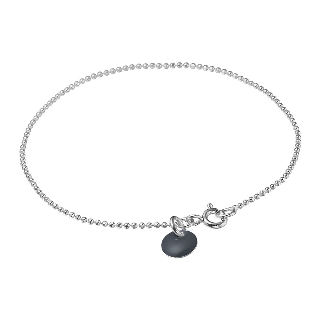 Image of   Dark Grey Ball Chain Sterling Sølv Armbånd fra Enamel