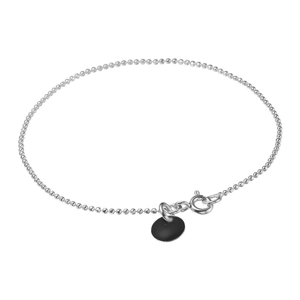 Enamel Black Ball Chain Sterling Sølv Armbånd B16S-24