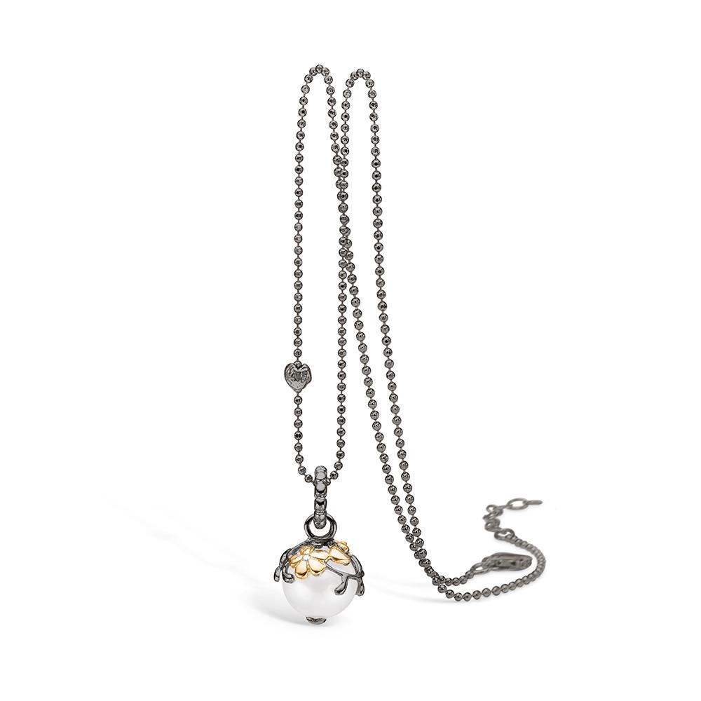 Blossom Sølv Halskæde med Ferskvandsperle og Diamant 25331032-45