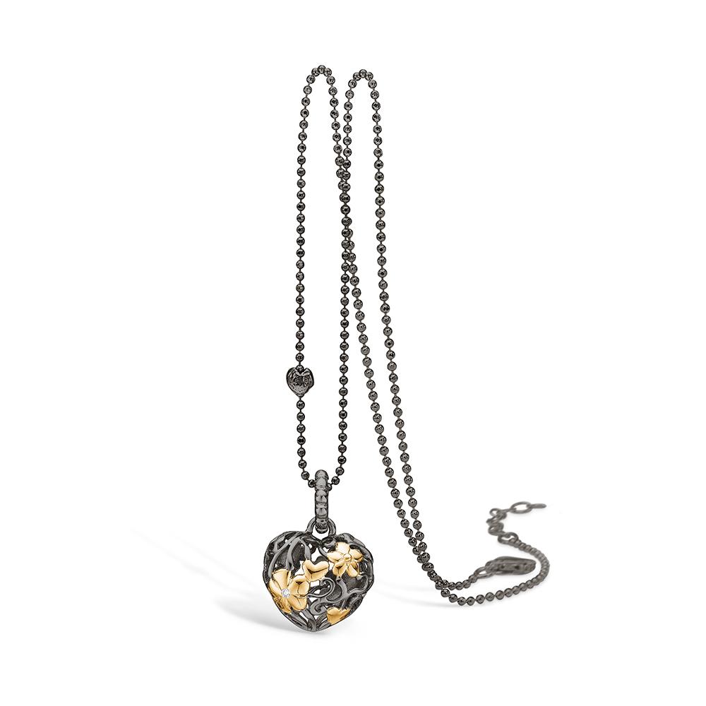 Blossom Halskæde i Forgyldt Sølv med Diamant 25341040-45
