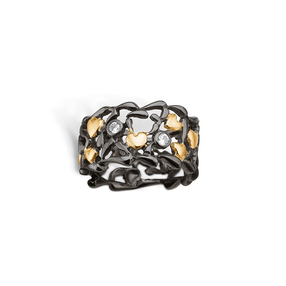 Image of   Blossom Forgyldt Sølv Ring med Hjertermotiv 25621104