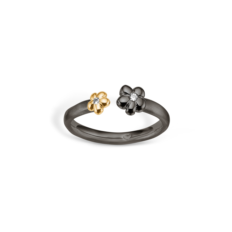 Image of   Blossom Ring i Sortrhodineret Sølv 25621262