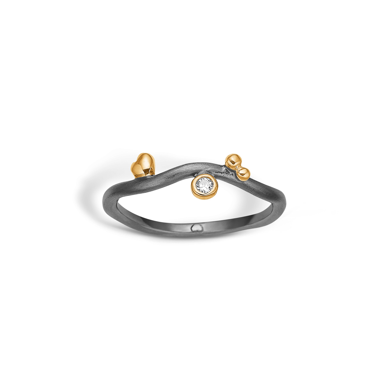 Image of   Blossom Ring i Sortrhodineret Sølv 25621303