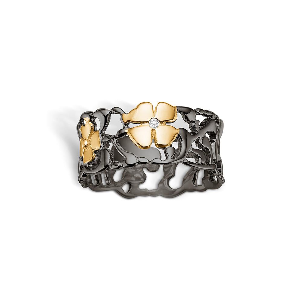 Image of   Blossom Sølv Ring med Blomstermotiv og Diamant 25641039-34