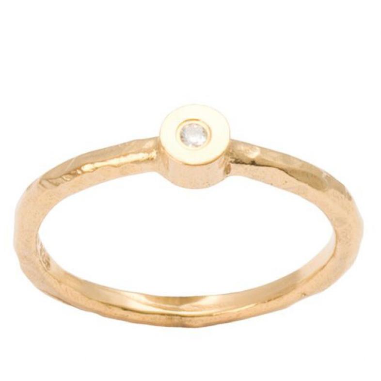 Heiring ring i forgyldt sølv med diamant