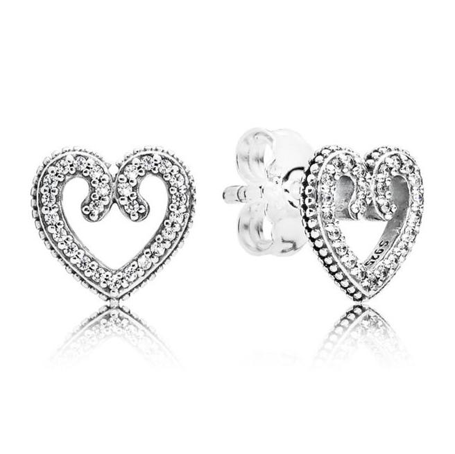 Pandora Heart Swirls Sølv Ørestikker 297099CZ