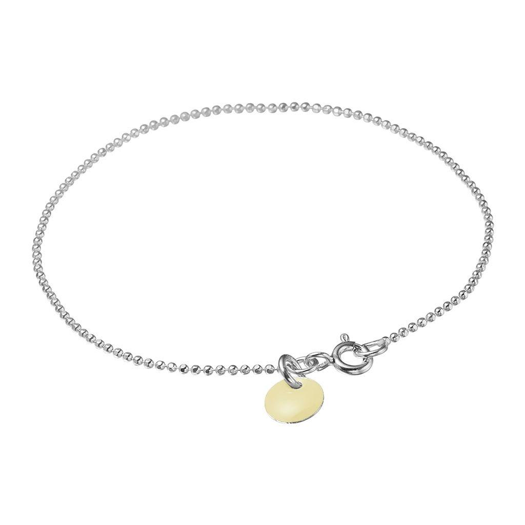 Enamel Beige Ball Chain Sterling Sølv Armbånd B16S-29