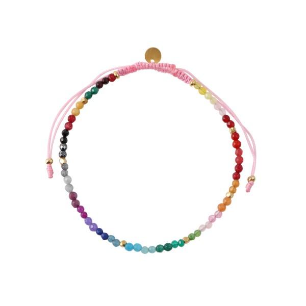 Rainbow Mix Forgyldt Sølv Armbånd fra Stine A med Ædelsten I Regnbuens Farver