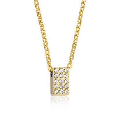 Blomdahl Brilliance Oblong Rustfri Stål Halskæde med Swarovski Krystaller