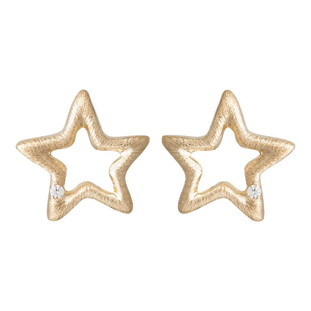 Stjerne Forgyldt Sølv Ørestikker fra Nordahl Andersen