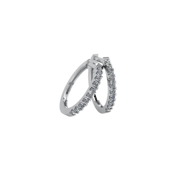 Smykkekæden Øreringe i 14 Karat Hvidguld med Brillanter 0,12 Carat W/SI