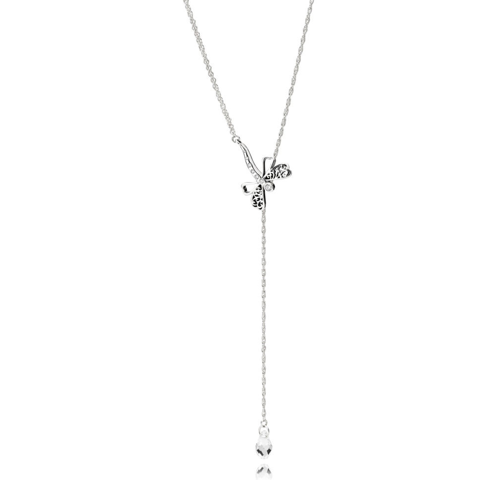 Pandora Dreamy Dragonfly Halskæde i Sterling Sølv med Krystal