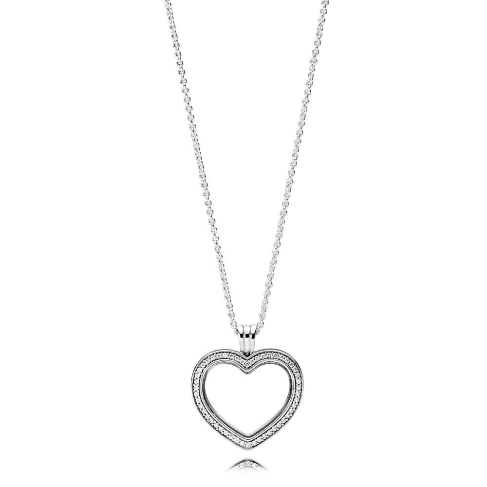 Sparkling Floating Heart Sølv Halskæde fra Pandora