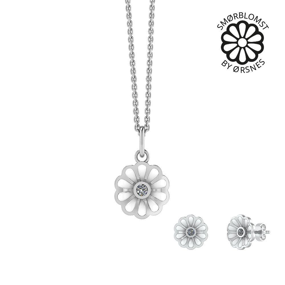 Image of   Smykkekæden Smørblomst Smykkesæt i Sterling Sølv SÆT571
