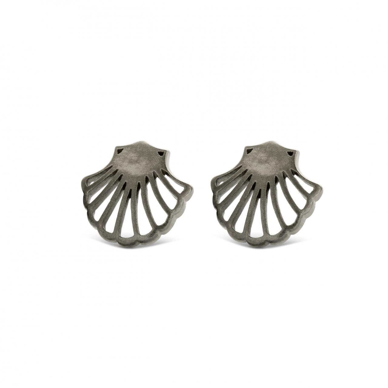 Spirit Icons Shell Sortrhodineret Sølv Øreringe